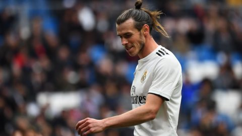 Real Madrid's Welsh forward Gareth Bale reacts during the Spanish League football match between Real Madrid and Athletic Bilbao at the Santiago Bernabeu Stadium in Madrid on April 21, 2019. (Photo by GABRIEL BOUYS / AFP)