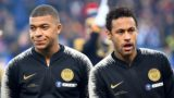 Paris Saint-Germain's French forward Kylian Mbappe (L) and Brazilian forward Neymar stand prior to the start of the French Cup final football match between Rennes (SRFC) and Paris Saint-Germain (PSG), on April 27, 2019 at the Stade de France in Saint-Denis, outside Paris. - Mbappe and Neymar could be suspended by the French Football Federation (FFF) on May 2, 2019, following the French Cup final against Rennes. Kylian Mbappe was sent off in that game, while Neymar later apologised after hitting a fan who taunted the Brazilian as he went up to collect his runners-up medal. (Photo by Damien MEYER / AFP)