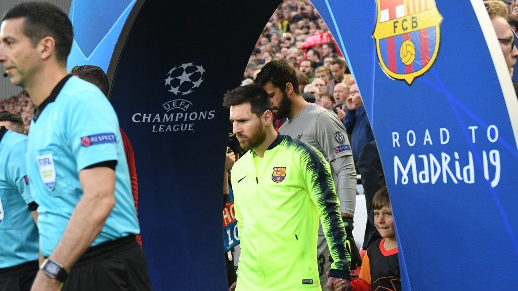 Barcelona's Argentinian striker Lionel Messi arrives for the UEFA Champions league semi-final second leg football match between Liverpool and Barcelona at Anfield in Liverpool, north west England on May 7, 2019. (Photo by Oli SCARFF / AFP)