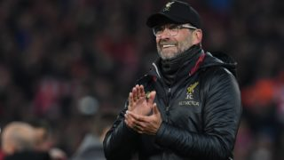 Liverpool's German manager Jurgen Klopp celebrates winning the UEFA Champions league semi-final second leg football match between Liverpool and Barcelona at Anfield in Liverpool, north west England on May 7, 2019. (Photo by Paul ELLIS / AFP)