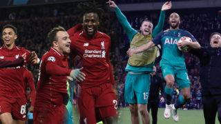 Liverpool's Belgium striker Divock Origi (R) celebrates wtih Liverpool's Swiss midfielder Xherdan Shaqiri after scoring their fourth goal during the UEFA Champions league semi-final second leg football match between Liverpool and Barcelona at Anfield in Liverpool, north west England on May 7, 2019. (Photo by Paul ELLIS / AFP)