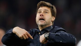 Tottenham's Argentine coach Mauricio Pochettino reacts during the UEFA Champions League semi-final second leg football match between Ajax Amsterdam and Tottenham Hotspur at the Johan Cruyff Arena, in Amsterdam, on May 8, 2019. (Photo by Adrian DENNIS / AFP)
