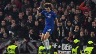 Chelsea's Brazilian defender David Luiz celebrates his goal during the penalty shootout during the UEFA Europa League semi-final second leg football match between Chelsea and Eintracht Frankfurt at Stamford Bridge in London on May 9, 2019. (Photo by Ben STANSALL / AFP)
