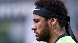 Paris Saint-Germain's Brazilian forward Neymar looks on during a training session prior to the French L1 football match between Angers (SCO) and Paris Saint-Germain (PSG), on May 11, 2019, at Raymond-Kopa Stadium, in Angers, northwestern France. (Photo by Jean-Francois MONIER / AFP)