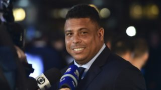 Brazil's former player Ronaldo Luis Nazario de Lima gives an interview as he arrives for The Best FIFA Football Awards ceremony, on October 23, 2017 in London. (Photo by Glyn KIRK / AFP)