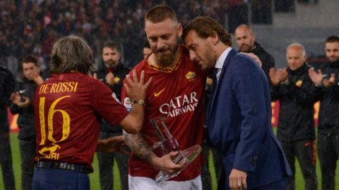 Daniele De Rossi and Francesco Totti during the Italian Serie A football match between A.S. Roma and Parma at the Olympic Stadium in Rome, on may 26, 2019. (Photo by Silvia Lore/NurPhoto)