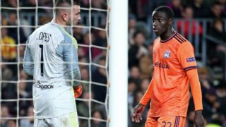 Ferland Mendy and Anthony Lopes during the match between FC Barcelona and Olympique de Lyon, corresponding to the second leg of the round of 16 of the UEFA Champions League, played at the Camp Nou Stadium, on 13th March 2019, in Barcelona, Spain. Photo: Joan Valls/Urbanandsport /NurPhoto  -- (Photo by Urbanandsport/NurPhoto)