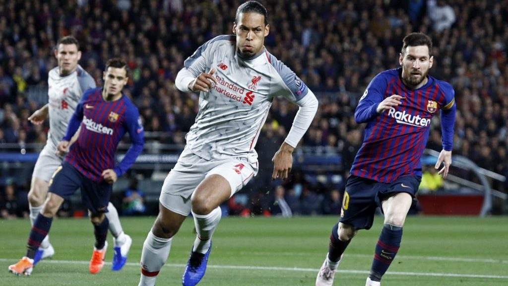 Leo Messi and Virgil Van Dijk during the match between FC Barcelona and Liverpool FC, corresponding to the semifinal of the UEFA Champions League, played at the Camp Nou Stadium, on 01st May 2019, in Barcelona, Spain. (Photo by Joan Valls/Urbanandsport /NurPhoto)