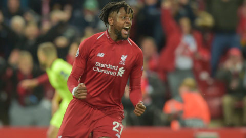 LIVERPOOL, ENGLAND - MAY 07: Divock Origi of FC Liverpool celebrates after scoring his team's fourth goal during the UEFA Champions League Semi Final second leg match between Liverpool and Barcelona at Anfield on May 7, 2019 in Liverpool, England. (Photo by TF-Images/Getty Images)