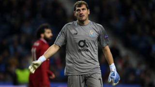 PORTO, PORTUGAL - APRIL 17: Iker Casillas of Porto reacts during the UEFA Champions League Quarter Final second leg match between Porto and Liverpool at Estadio do Dragao on April 17, 2019 in Porto, Portugal. (Photo by Etsuo Hara/Getty Images)