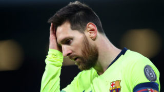 LIVERPOOL, ENGLAND - MAY 07:  Lionel Messi of Barcelona looks thoughtful during the UEFA Champions League Semi Final second leg match between Liverpool and Barcelona at Anfield on May 07, 2019 in Liverpool, England. (Photo by Clive Brunskill/Getty Images)