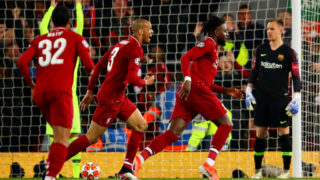 LIVERPOOL, ENGLAND - MAY 07: Divock Origi of Liverpool celebrates after scoring his sides fourth goal during the UEFA Champions League Semi Final second leg match between Liverpool and Barcelona at Anfield on May 07, 2019 in Liverpool, England. (Photo by Chris Brunskill/Fantasista/Getty Images)