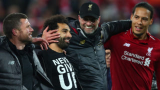 LIVERPOOL, ENGLAND - MAY 07:  Jurgen Klopp, Manager of Liverpool and Mohamed Salah of Liverpool and team mates celebrate after the UEFA Champions League Semi Final second leg match between Liverpool and Barcelona at Anfield on May 07, 2019 in Liverpool, England. (Photo by Clive Brunskill/Getty Images)