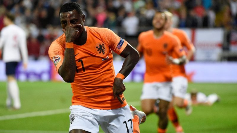 Netherlands' forward Quincy Promes celebrates his team's second goal during the UEFA Nations League semi-final football match between The Netherlands and England at the Afonso Henriques Stadium in Guimaraes on June 6, 2019. (Photo by MIGUEL RIOPA / AFP)