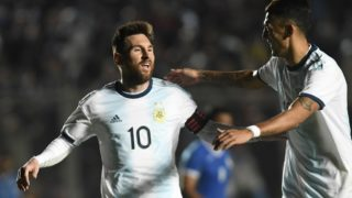Argentina's Lionel Messi (L) celebrates with teammate Matias Suarez after scoring against Nicaragua during their international friendly football match at the San Juan del Bicentenario stadium in San Juan, Argentina, on June 7, 2019. (Photo by Andres LARROVERE / AFP)