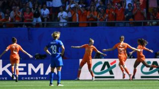 Netherlands' forward Vivianne Miedema celebrates after scoring a goal during the France 2019 Women's World Cup quarter-final football match between Italy and Netherlands, on June 29, 2019, at the Hainaut stadium in Valenciennes, northern France. (Photo by Philippe HUGUEN / AFP)