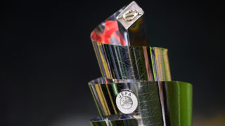 The UEFA Nations League trophy is pictured prior to the UEFA Nations League group 3 football match Italy vs Portugal at the San Siro Stadium in Milan on November 17, 2018. (Photo by Marco BERTORELLO / AFP)