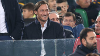 ROME, ITALY - MARCH 2: Francesco Totti during the Italian Serie A   match between Lazio v AS Roma at the Stadio Olimpico Rome on March 2, 2019 in Rome Italy (Photo by Danilo Di Giovanni/Soccrates/Getty Images)