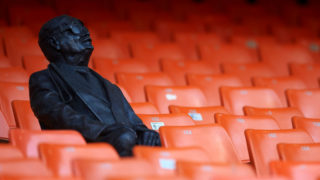 Commemorative statue of a blind supporter of Valencia during the La Liga match between Valencia CF and Real Madrid CF at Estadio Mestalla on April 3, 2019 in Valencia, Spain. (Photo by Jose Breton/NurPhoto via Getty Images)