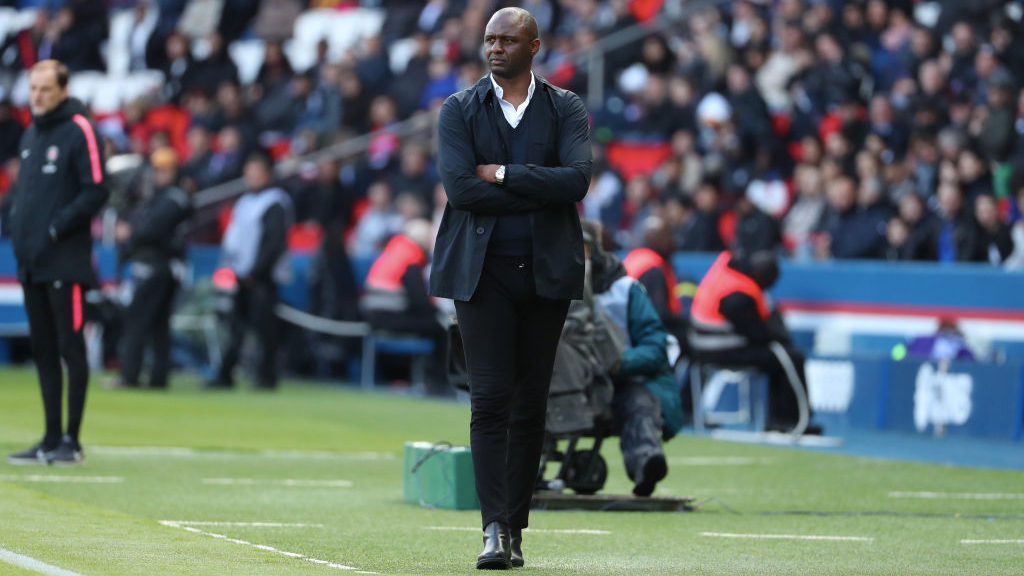 PARIS, FRANCE - MAY 04:  Head coach Patrick Vieira of OGC Nice reacts during the Ligue 1 match between Paris Saint-Germain (PSG) and OGC Nice at Parc des Princes on May 4, 2019 in Paris, France.  (Photo by Xavier Laine/Getty Images)
