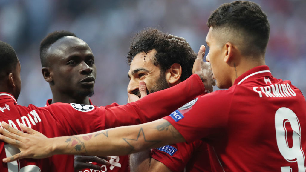 MADRID, SPAIN - JUNE 01: Mohamed Salah of Liverpool  celebrates after scoring the opening goal during the UEFA Champions League Final between Tottenham Hotspur and Liverpool at Estadio Wanda Metropolitano on June 01, 2019 in Madrid, Spain. (Photo by Ian MacNicol/Getty Images)