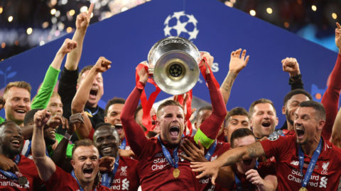 MADRID, SPAIN - JUNE 01: Jordan Henderson of Liverpool lifts the Champions League Trophy after after winning the UEFA Champions League Final between Tottenham Hotspur and Liverpool at Estadio Wanda Metropolitano on June 01, 2019 in Madrid, Spain. (Photo by Matthias Hangst/Getty Images)