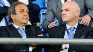 NYON, SWITZERLAND - APRIL 13:  UEFA President Michel Platini and UEFA General Secretary Gianni Infantino look on during the UEFA Youth League final match between FC Shakhtar Donetsk and Chelsea FC at Colovray on April 13, 2015 in Nyon, Switzerland.  (Photo by Harold Cunningham/Getty Images for UEFA)
