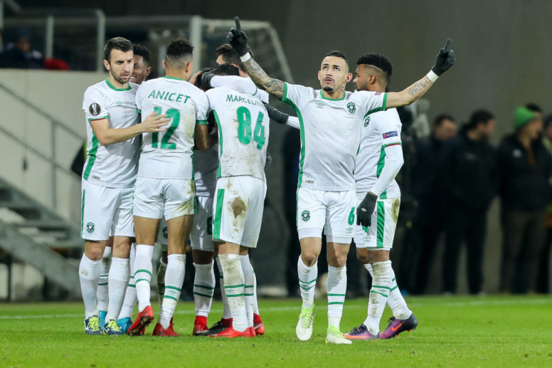 SINSHEIM, GERMANY - DECEMBER 07: Wanderson of Ludogorets celebrates after scoring his team`s first goal with team mates during the UEFA Europa League group C match between 1899 Hoffenheim and PFC Ludogorets Razgrad at Wirsol Rhein-Neckar-Arena on December 7, 2017 in Sinsheim, Germany. (Photo by TF-Images/TF-Images via Getty Images)