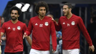 Egypt's forward Mohamed Salah (L), Egypt's midfielder Amr Warda (C) and Egypt's midfielder Ramadan Sobhi (R) a training session on June 18, 2018 in Saint Petersburg during the Russia 2018 World Cup football tournament. (Photo by CHRISTOPHE SIMON / AFP)