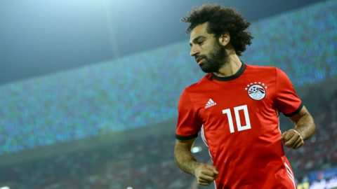 Egypts Mohamed Salah reacts during the Africa Cup of Nations qualifier match between Egypt and Swaziland on October 12, 2018 in Al-Salam stadium.  (Photo by Ahmed Awaad/NurPhoto)
