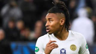 Paris Saint-Germain's French midfielder Christopher Nkunku reacts after failing to score during the penalty shout-out of the French Cup final football match between Rennes (SRFC) and Paris Saint-Germain (PSG), on April 27, 2019 at the Stade de France in Saint-Denis, outside Paris. (Photo by DAMIEN MEYER / AFP)