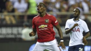 Manchester United's Paul Pogba (C) gestures during the International Champions Cup football tournament between English Premier League sides Manchester United and Tottenham at Hongkou Football Stadium in Shanghai, on July 25, 2019. (Photo by HECTOR RETAMAL / AFP)