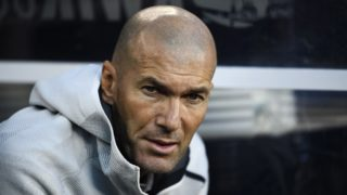 Real Madrid's French headcoach Zinedine Zidane looks on during the 2019 International Champions Cup football match between Real Madrid and Atletico Madrid at the Metlife Stadium Arena in East Rutherford, New Jersey on July 26, 2019. (Photo by Johannes EISELE / AFP)