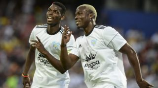 Matias Pogba (R) celebrates his goal with his brother Paul Pogba during a friendly match organized by the Juan Cuadrado foundation between the friends of Colombian midfielder Juan Cuadrado and of French midfielder Paul Pogba at Atanasio Girardot stadium, in Medellin, Antioquia department, Colombia on June 24, 2017. (Photo by JOAQUIN SARMIENTO / AFP)