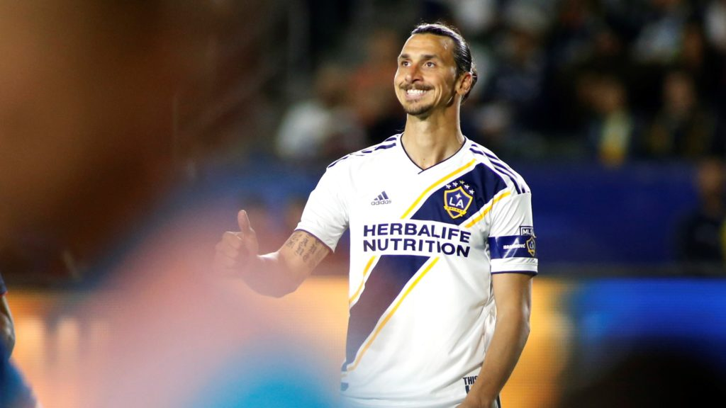 CARSON, CALIFORNIA - JUNE 02: Zlatan Ibrahimovic #9 of Los Angeles Galaxy reacts after a play during the second half of a game against the New England Revolution at Dignity Health Sports Park on June 02, 2019 in Carson, California.   Katharine Lotze/Getty Images/AFP