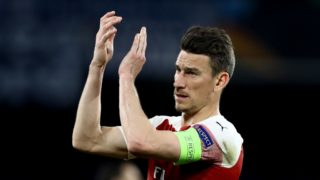 Laurent Koscielny of Arsenal celebrates during the UEFA Europa League quarter-finals second leg football match SSC Napoli v Arsenal Fc at the San Paolo Stadium in Naples, Italy on April 18, 2019  (Photo by Matteo Ciambelli/NurPhoto)