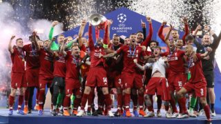 Liverpool captain Jordan Henderson lifts the cup during the UEFA Champions League Final Tottenham Hotspur Fc v Liverpool Fc awards ceremony at the Wanda Metropolitano Stadium in Madrid, Spain on June 1, 2019