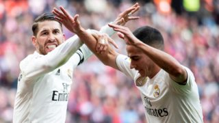 Sergio Ramos and Lucas Vazquez of Real Madrid celebrating a goal during La Liga match between Atletico de Madrid and Real Madrid at Wanda Metropolitano in Madrid Spain. February 09, 2018. (Photo by PeterSabok/COOLMedia/NurPhoto)