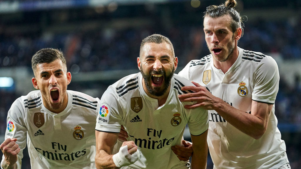 MADRID, SPAIN - MARCH 31: Karim Benzema of Real Madrid  celebrates the goal victory during the La Liga match between Real Madrid CF and SD Huesca at Estadio Santiago Bernabeu on March 31, 2019 in Madrid, Spain. (Photo by Quality Sport Images/Getty Images)