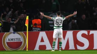 Celtic's Scottish defender Kieran Tierney celebrates after scoring during a UEFA Europa league group stage football match between Celtic and Liepzig at Celtic Park stadium in Glasgow, Scotland on November 8, 2018. (Photo by ANDY BUCHANAN / AFP)