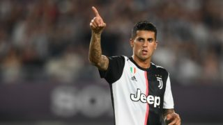 Portuguese football player Joao Cancelo of Juventus F.C. celebrates after defeating Inter Milan during the 2019 International Champions Cup football tournament in Nanjing city, east China's Jiangsu province, 24 July 2019.  Juventus beat arch rivals Inter Milan through a thrilling penalty shootout to go 5-4 on aggregate in the International Champions Cup here on Wednesday after they played out a 1-1 draw in regular time.
