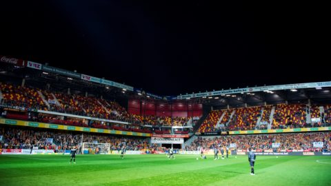 Illustration picture shows the AFAS stadium without the lights during a soccer game between KV Mechelen and Oud-Heverlee Leuven (OHL), Friday 05 October 2018 in Mechelen, on the ninth day of the 'Proximus League' 1B division of the Belgian soccer championship. BELGA PHOTO JASPER JACOBS