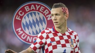 FOTOMONTAGE: Ivan PERISIC apparently before changing to FC Bayern Munich. <br> <br> <br> Ivan PERISIC (CRO) with Red White hair color, flag, flag, eighth-finals, match M39, Croatia (CRO) - Portugal (POR) 0: 1 n / a, on 25.06.2016 in Lens. Football European Championship 2016 in France from 10.06. - 10.07.2016. | Usage worldwide