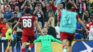ISTANBUL, TURKEY - AUGUST 14: Liverpool goalkeeper Adrian celebrates after saving Tammy Abraham's penalty shoot-out during the UEFA Super Cup final between Liverpool and Chelsea at Vodafone Park in Istanbul, Turkey on August 14, 2019.  Salih Zeki Fazlioglu / Anadolu Agency