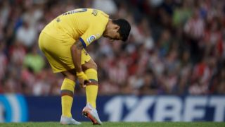 Luis Suarez of Barcelona lies injured on the pitch during the Liga match between Athletic Club and FC Barcelona at San Mames Stadium on August 16, 2019 in Bilbao, Spain. (Photo by Jose Breton/Pics Action/NurPhoto)