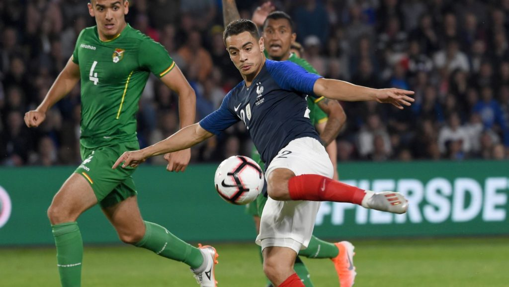 France's forward Wissam Ben Yedder shoot the ball during the friendly match between France and Bolivia at La Beaujoire stadium in Nantes, Western France on June 2, 2019. (Photo by Sebastien SALOM-GOMIS / AFP)