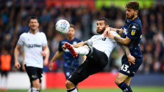 DERBY, ENGLAND - MAY 11:  Bradley Johnson of Derby County battles for possession with Mateusz Klich of Leeds United during the Sky Bet Championship Play-off semi final first leg match between Derby County and Leeds United at Pride Park Stadium on May 11, 2019 in Derby, England. (Photo by Clive Mason/Getty Images)