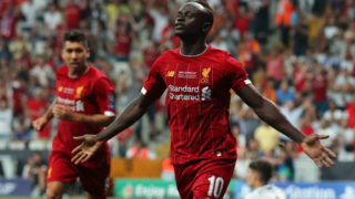 ISTANBUL, TURKEY - AUGUST 14: Sadio Mane of Liverpool celebrates after scoring a goal to make it 1-1 during the UEFA Super Cup Final fixture between Liverpool and Chelsea at Vodafone Park on August 14, 2019 in Istanbul, Turkey. (Photo by Matthew Ashton - AMA/Getty Images)