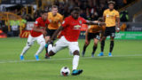 WOLVERHAMPTON, ENGLAND - AUGUST 19: Paul Pogba of Manchester United shoots a penalty and fails to score due to a save by Rui Patricio of Wolverhampton Wanderers during the Premier League match between Wolverhampton Wanderers and Manchester United at Molineux on August 19, 2019 in Wolverhampton, United Kingdom. (Photo by David Rogers/Getty Images)