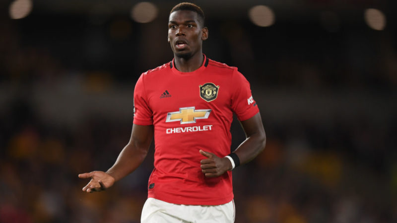 WOLVERHAMPTON, ENGLAND - AUGUST 19:  Paul Pogba of Manchester United during the Premier League match between Wolverhampton Wanderers and Manchester United at Molineux on August 19, 2019 in Wolverhampton, United Kingdom. (Photo by Shaun Botterill/Getty Images)